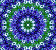 Blue Green Floral Kaleidoscope Mandala by TigerLynx