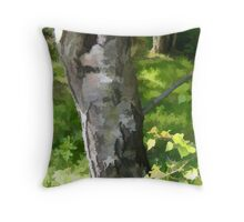 Abstract of Silver Birch Throw Pillow