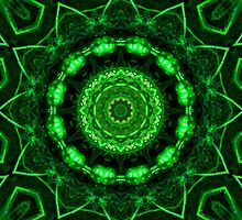 Green Glow Kaleidoscope Mandala by TigerLynx