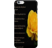 Yellow Rose Greeting Card With Verse - Pluck Not the Rose  iPhone Case/Skin