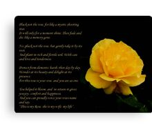Yellow Rose Greeting Card With Verse - Pluck Not the Rose  Canvas Print