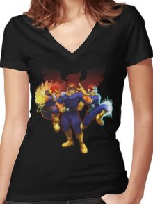 Show Me Your Moves, Captain Falcon!  Women's Fitted V-Neck T-Shirt