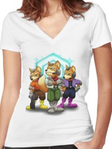 Fox Victory Pose T-Shirt  Women's Fitted V-Neck T-Shirt
