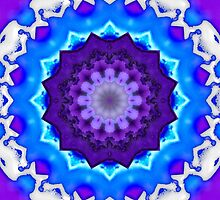 Blue, White and Purple Kaleidoscope Mandala by TigerLynx