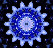 Blue Floral Kaleidoscope Mandala by TigerLynx