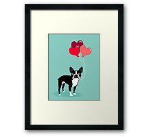 Boston Terrier Valentines Love Balloons gifts for dog lovers pet owners dog breeds customizable Framed Print