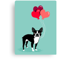 Boston Terrier Valentines Love Balloons gifts for dog lovers pet owners dog breeds customizable Canvas Print