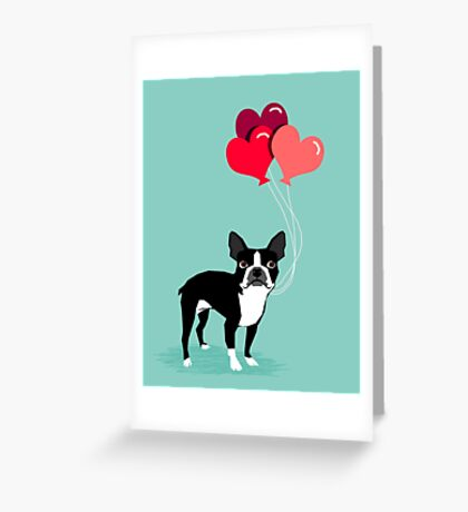 Boston Terrier Valentines Love Balloons gifts for dog lovers pet owners dog breeds customizable Greeting Card