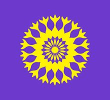 Purple Yellow Bold Floral Kaleidoscope Mandala by TigerLynx