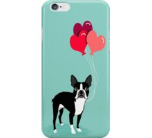Boston Terrier Valentines Love Balloons gifts for dog lovers pet owners dog breeds customizable iPhone Case/Skin
