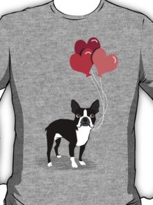 Boston Terrier Valentines Love Balloons gifts for dog lovers pet owners dog breeds customizable T-Shirt