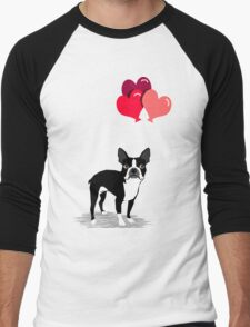 Boston Terrier Valentines Love Balloons gifts for dog lovers pet owners dog breeds customizable Men's Baseball ¾ T-Shirt