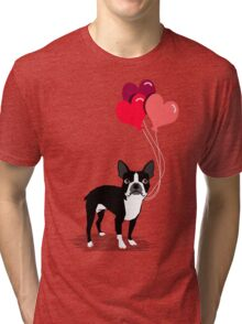 Boston Terrier Valentines Love Balloons gifts for dog lovers pet owners dog breeds customizable Tri-blend T-Shirt