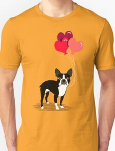 Boston Terrier Valentines Love Balloons gifts for dog lovers pet owners dog breeds customizable Unisex T-Shirt