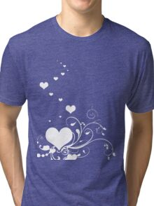 White Valentine Hearts On Red Background Tri-blend T-Shirt