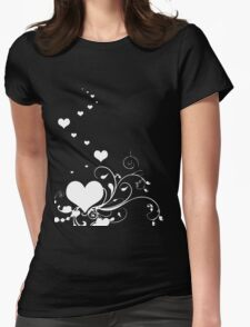 White Valentine Hearts On Red Background T-Shirt