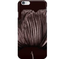Silver & Black Tulip Flower Abstract - Maroon iPhone Case/Skin