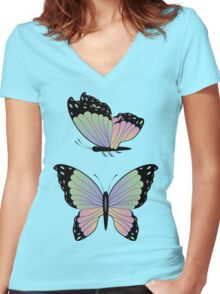 Cartoon Butterflies Women's Fitted V-Neck T-Shirt