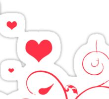 Red Valentine Hearts on A White Background Sticker