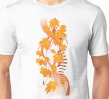 Autumn floral ornament with orange maple leaves 3 Unisex T-Shirt