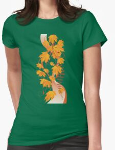 Autumn floral ornament with orange maple leaves 3 Womens Fitted T-Shirt