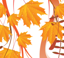 Autumn floral ornament with orange maple leaves 4 Sticker