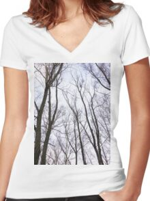 Trees in winter park 2 Women's Fitted V-Neck T-Shirt