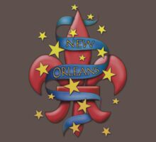 New Orleans Tattoo Art Fleur de Lis T-shirt by Greenbaby