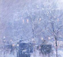 Late Afternoon New York Winter - Childe Hassam Sticker