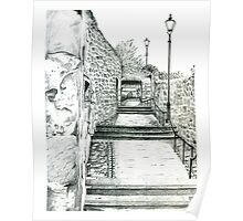 Dysart in Fife, Scotland Pencil Drawing: Architecture [Lane/Vennel/Thoroughfare] Poster
