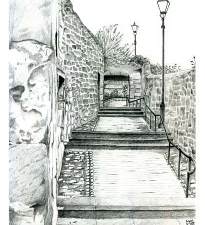 Dysart in Fife, Scotland Pencil Drawing: Architecture [Lane/Vennel/Thoroughfare] Sticker