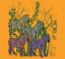 Zebra Stamps Colorful Zebras in Safari Savannah Grass by Greenbaby