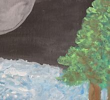Full Moon Over River by ConnieAnn LaPointe