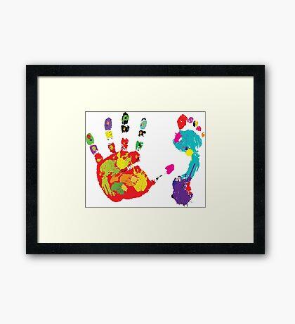 Color footprint and handprint Framed Print