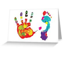 Color footprint and handprint Greeting Card