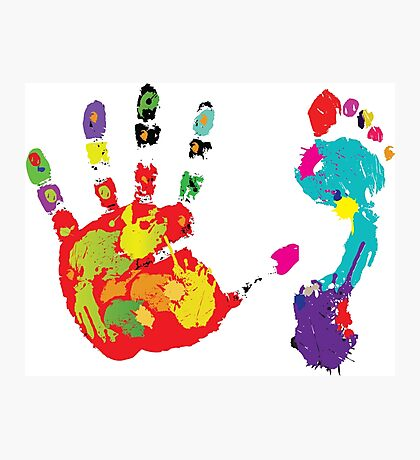 Color footprint and handprint Photographic Print