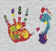 Color footprint and handprint Baby Tee