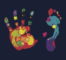 Color footprint and handprint Baby Tee
