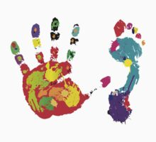Color footprint and handprint One Piece - Short Sleeve