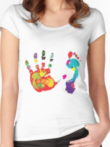 Color footprint and handprint Women's Fitted Scoop T-Shirt