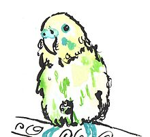 Watercolour budgie by drknice