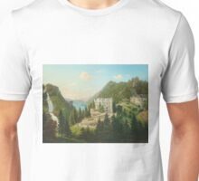 19th Century Artist - View of the Grand Hotel Giessbach with the Giessbach Falls on Lake Brienzer, Bernese Oberland Unisex T-Shirt
