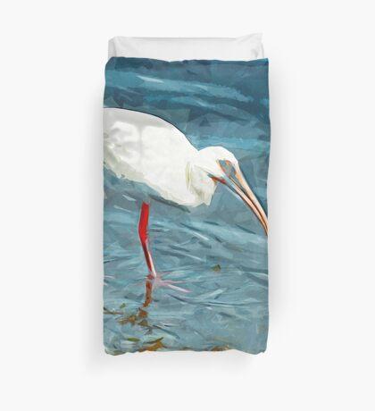 White Ibus at Shoreline Abstract Impressionism Duvet Cover