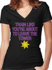 Tangled Tower Work Out Women's Fitted V-Neck T-Shirt