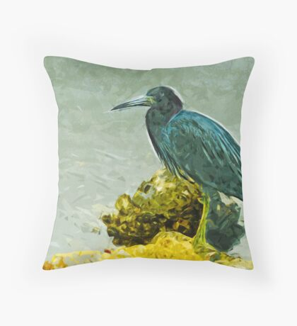 Little Blue Heron at Waters Edge Abstract Impressionism Throw Pillow