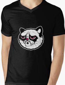 Black and white cat with the hump  Mens V-Neck T-Shirt