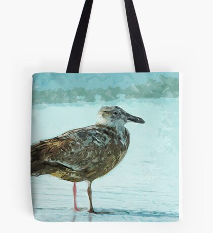 Herring Gull on the Beach Abstract Impressionism Tote Bag