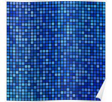 Blue pixel mosaic Poster