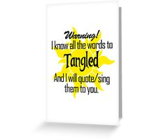 All the Words to Tangled (Light) Greeting Card