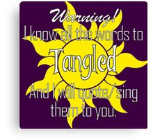 All the Words to Tangled (Dark) Canvas Print
